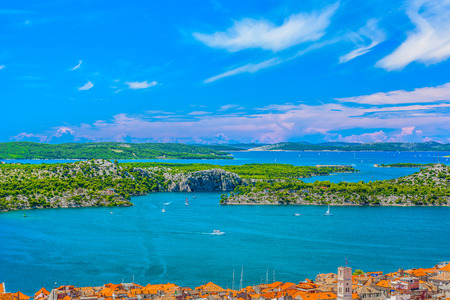 Aerial view at marble archipelago in Dalmatia region, Sibenik channel travel destination.