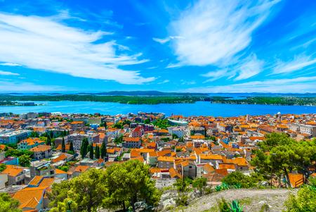 Aerial view at Sibenik medieval cityscape in Croatia, Dalmatia region. Reklamní fotografie