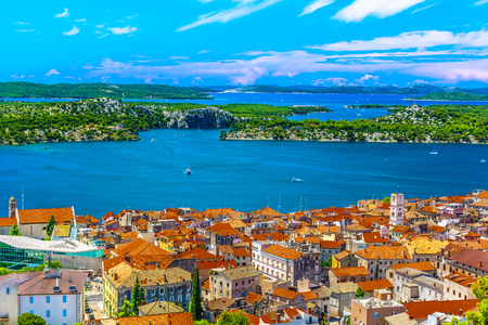 Aerial view at marble idyllic summer town Sibenik in Croatia, famous travel destination. Stock fotó