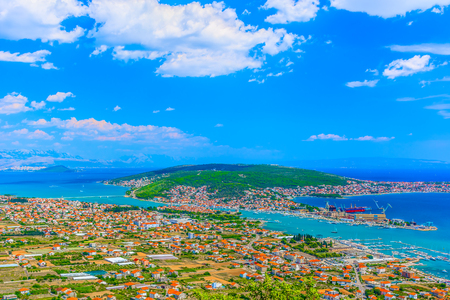 Aerial view at Trogir Riviera in summertime, landscape scenery in Croatia, Europe.