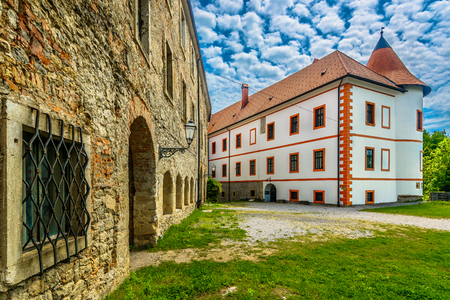 Scenic view at marble medieval architecture in Ozalj old town, tourist resort in Central Croatia, Europe.