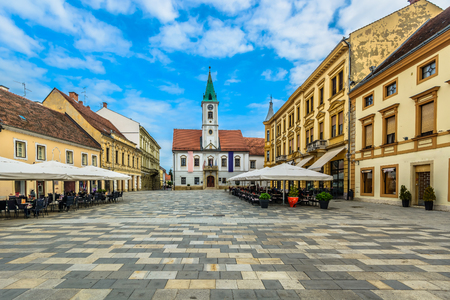 Scenic view at famous tourist resort in Croatia, former capital town Varazdin and historical center.