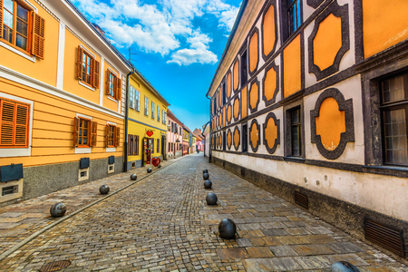 Scenic view at colorful baroque street in city center of Varazdin town, Croatia Europe. Stock fotó