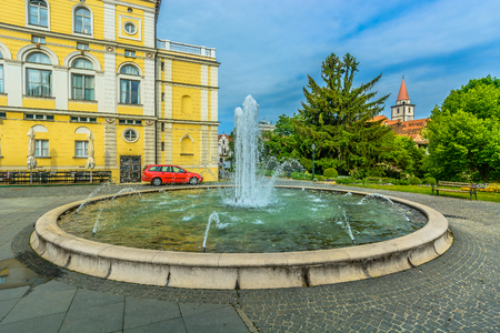 Scenic view at square with marble fountain in Varazdin city center, Croatia Europe.