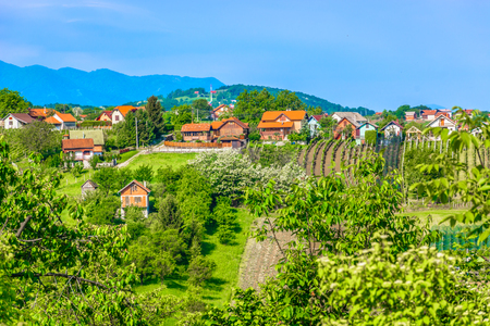 Scenic view at marble nature and landscape in springtime in Zagorje region, Varazdin County.