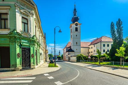 Scenic view at old architecture in Koprivnica city center, popular tourist resort in Medjimurje Croatia.