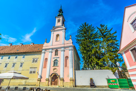 Scenic view at cathedral in Varazdin town, Croatia Europe travel places. 版權商用圖片