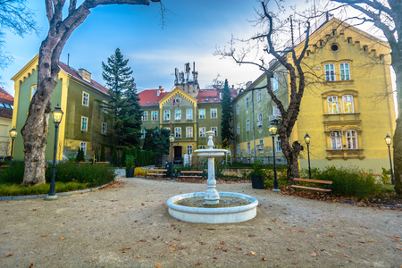 Scenic view at marble historical baroque landmark in Zagreb upper town, Croatia Europe. Stock fotó