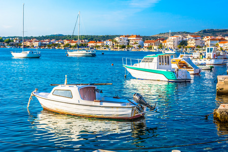 Seascape view at picturesque small town Rogoznica in Northern Dalmatia, Croatia Europe. Stock fotó
