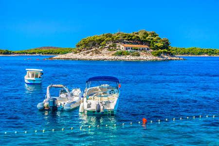 Scenic view at marble blue sea in Hvar island, summertime in Europe, Croatia. Stock fotó