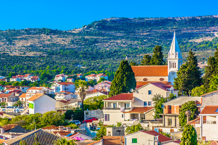 Aerial view at picturesque town Rogoznica in Dalmatia region, tourist summer place in Croatia, Europe.