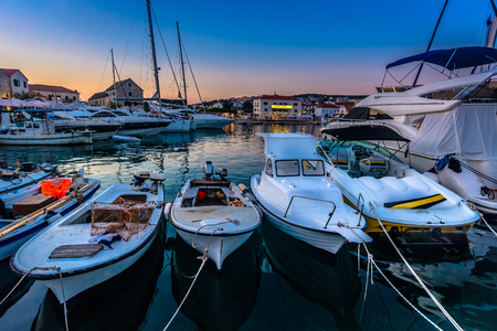 Seafront view at marina in Primosten town, croatian summer travel places. Stock fotó