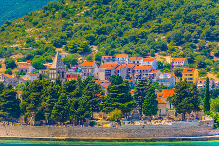 Waterfront view at famous picturesque Vis town in summertime, Southern Croatia. 版權商用圖片