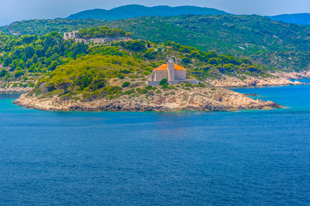 Seafront view at coastline in Southern Croatia, Vis island scenery. Stock fotó
