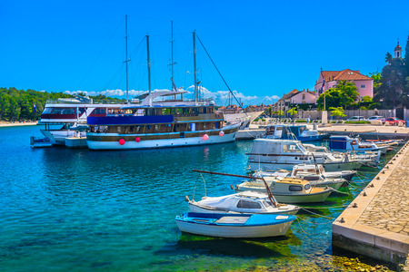 Scenic view at marble marina in Hvar Starigrad town, Southern Croatia. 版權商用圖片