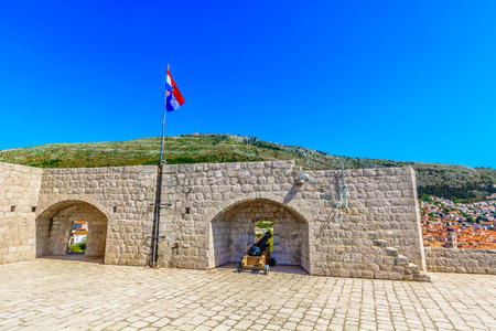 Scenic view at old ancient fort Lawrence in Dubrovnik city center, Croatia. Stock fotó