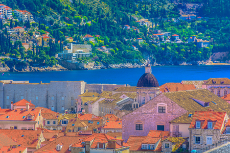 Aerial view at famous cityscape in old town Dubrovnik, Croatia Europe.