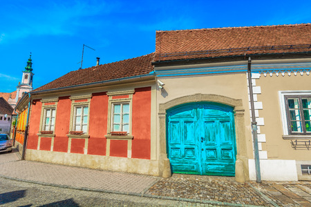 Scenic view at baroque colorful buildings in city center of town Varazdin, Croatia Europe. Stock fotó
