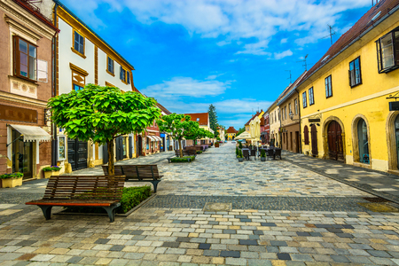 Scenic view at famous picturesque street in city center of Varazdin, former capital town in Croatia Europe.