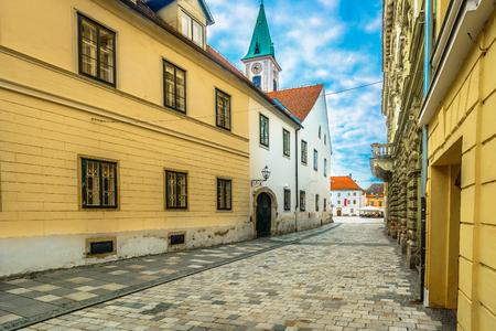 Scenic view at idyllic streetscape in old town Varazdin, Croatia Europe.