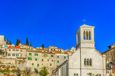 Scenic view at traditional architecture in Sibenik old town, Mediterranean. Stock fotó