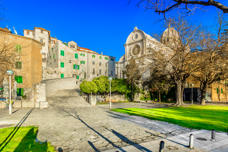 Scenic view at marble colorful square in Sibenik town, Croatia Europe. Reklamní fotografie