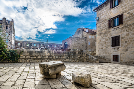 Scenic view at famous old street in city center of town Dubrovnik, popular sightseeing spot in Southern Europe, Croatia. Stock fotó