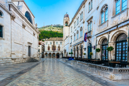 Sceni view at marble streets in Dubrovnik city center, Croatia Europe.