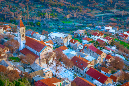 Aerial view at picturesque town Klis insuburb of Split city