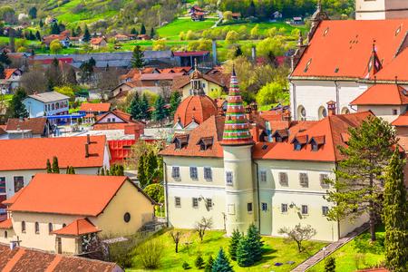 Aerial view at marble catholic shrine in Zagorje region, famous Marija Bistrica landmark.