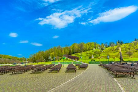 Scenic view at colorful outdoors park in Marija Bistrica shrine, Croatia Zagorje. 写真素材