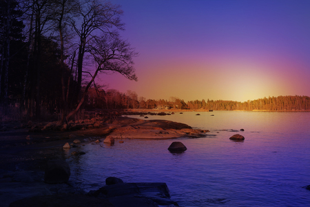 Colorful photo of a view over the sea to the forest. There is sea, rocks, silhouettes​ of the trees and forest in the picture. Gorgeous photo with beautiful blues, purples, pinks and yellows. Stock Photo