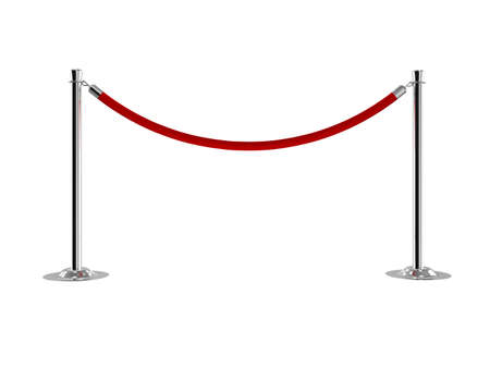 Velvet rope isolated on white background. 3d photo