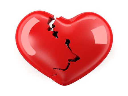 corazon roto: Corazón roto. Aislado en el fondo blanco. Foto de archivo