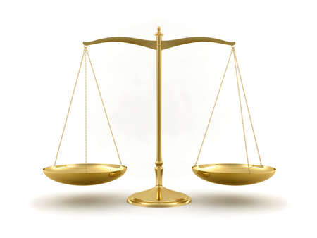 Gold scale isolated on white background. Law and justice concept.