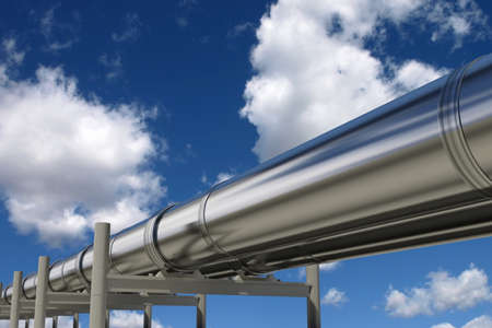 gas supply: Oil pipelines isolated on blue sky