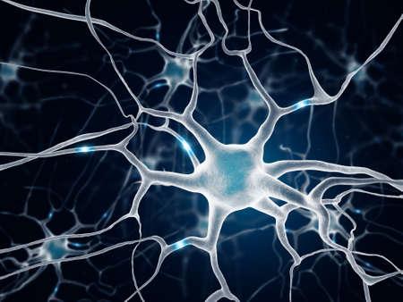 neuron: Neurona multipolar en el fondo azul Foto de archivo
