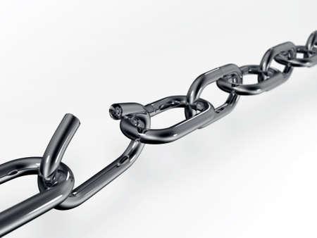 cadena rota: Broken chain aisladas sobre fondo blanco