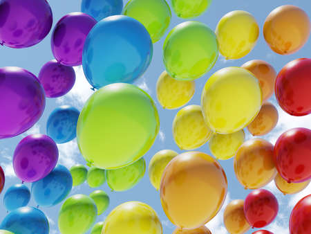 balloons: Colorful balloons over blue sky Stock Photo