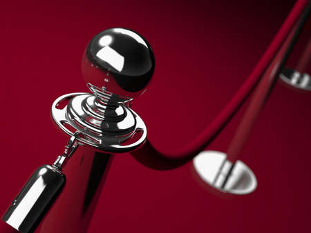 Roestvrij staal barrière met rode touw. Dichtbij.