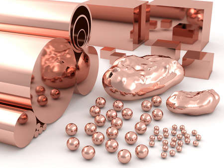 rhodium: Copper pipes spheres rods and cubes of different sizes. Stock Photo