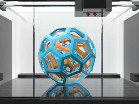 Three-dimensional printing machine with a three-dimensional object Foto de archivo