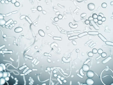 microscopic: Different types of bacteria on a light background. Stock Photo