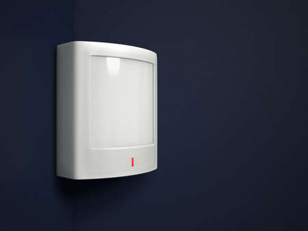 A passive infrared sensor PIR on a dark blue-gray wall