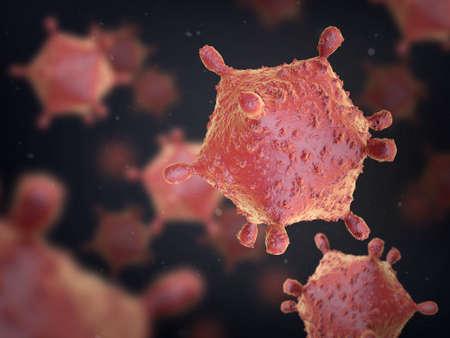 influenza: Virus on dark background. The icosahedral shape.