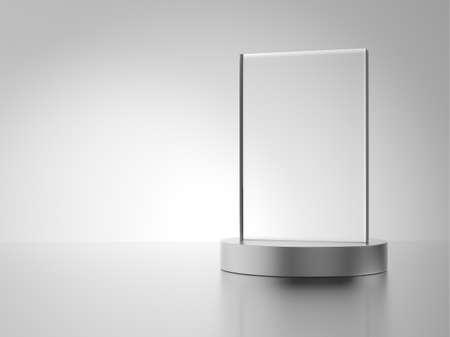 metal base: Glass award with metal base Stock Photo