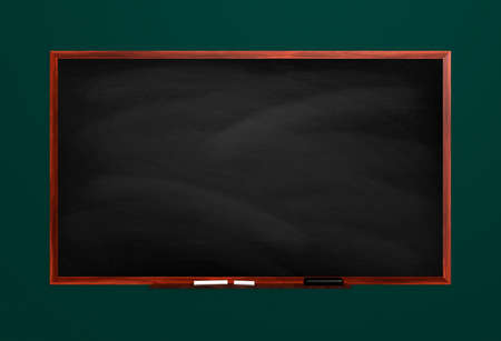 Blackboard isolated on green background.