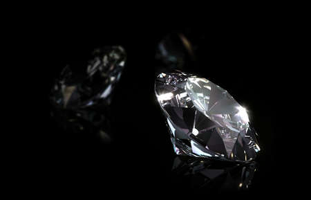 Diamond on black background. 3d illustration. Closeup. 스톡 콘텐츠