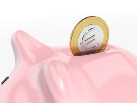 Piggy bank on white background. Savings. Euro. 3d illustration. Closeup.