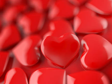 Valentine heart. Red. 3d illustration.